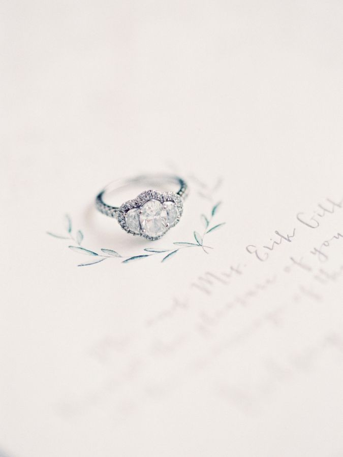 Gorgeous oval three stone engagement ring: www.stylemepretty... | Photography: M...