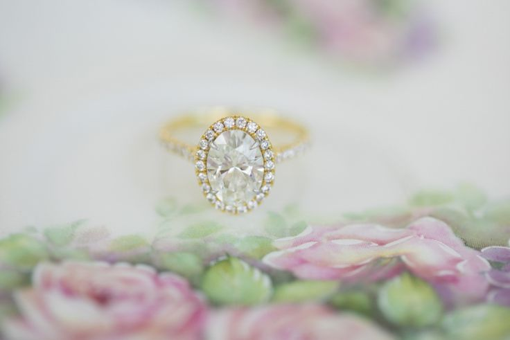 Oval cut gold diamond engagement ring: www.stylemepretty... | Photography : Love...