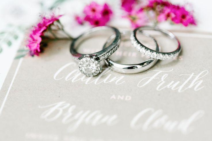 Platinum diamond engagement ring + matching wedding bands: www.stylemepretty... ...