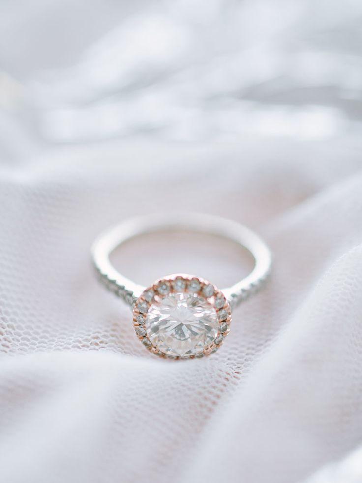 Rose gold halo solitaire diamond | Photography: Kate Weinstein Photo - www.katew...