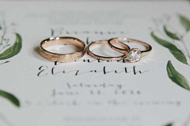 Rose gold wedding rings engagement ring wedding band | Photography: MORNINGWILD ...
