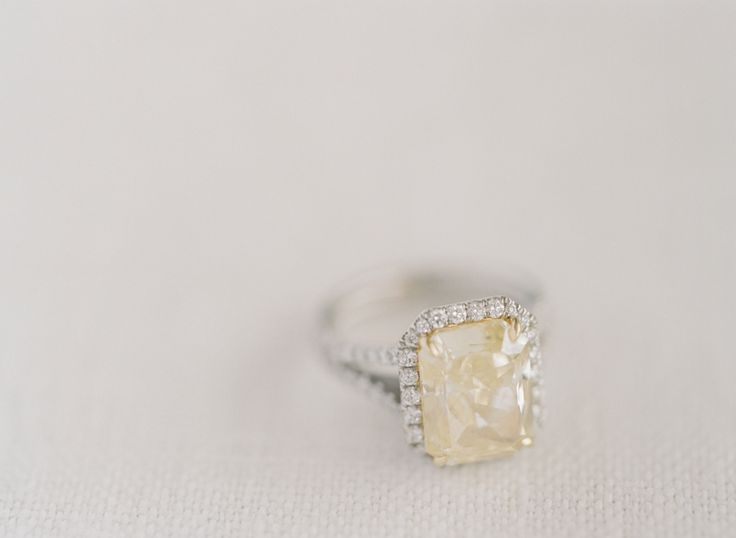 Stunning canary diamond engagement ring: www.stylemepretty... | Photography: Joe...