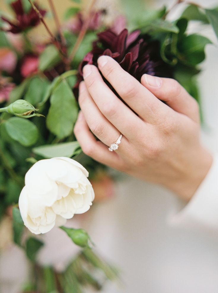 three stone diamond engagement ring | Photography: Simply Sarah Photography
