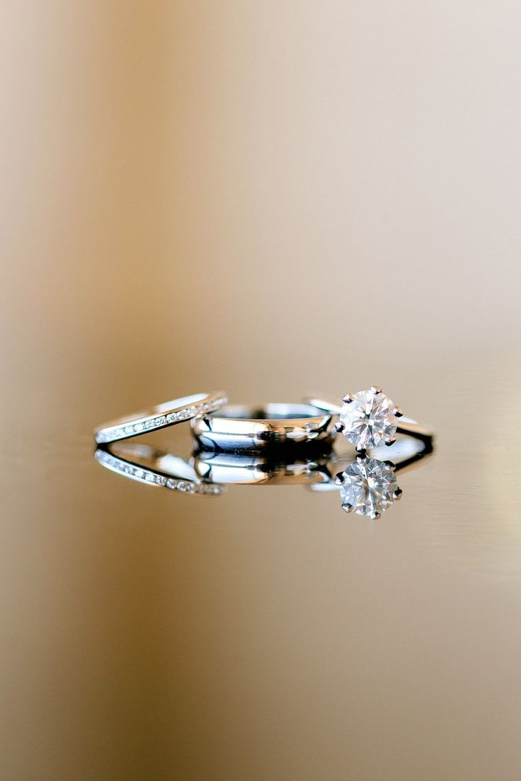 Tiffany Solitaire Engagement & Wedding Rings -- See the wedding on SMP here: www...