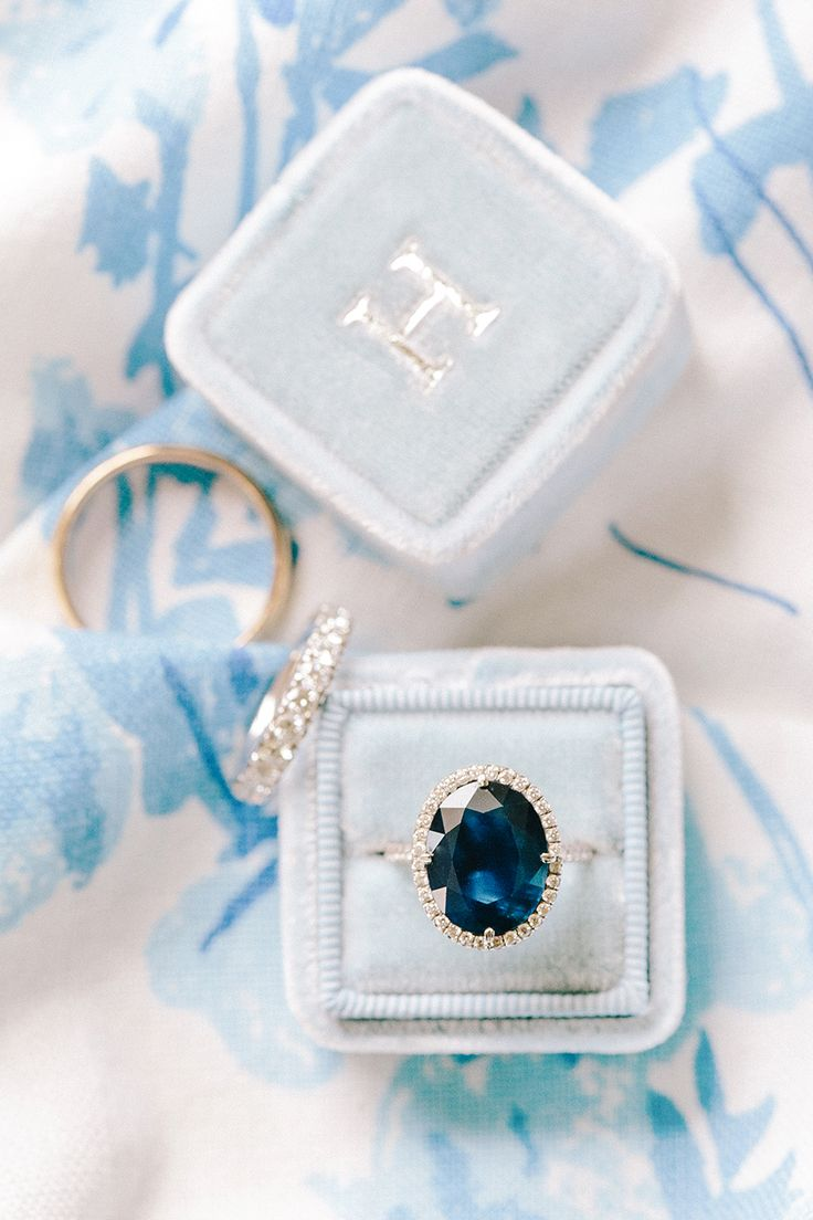 Unique sapphire in a halo setting: Photography : Katie Stoops Photography | Jewe...