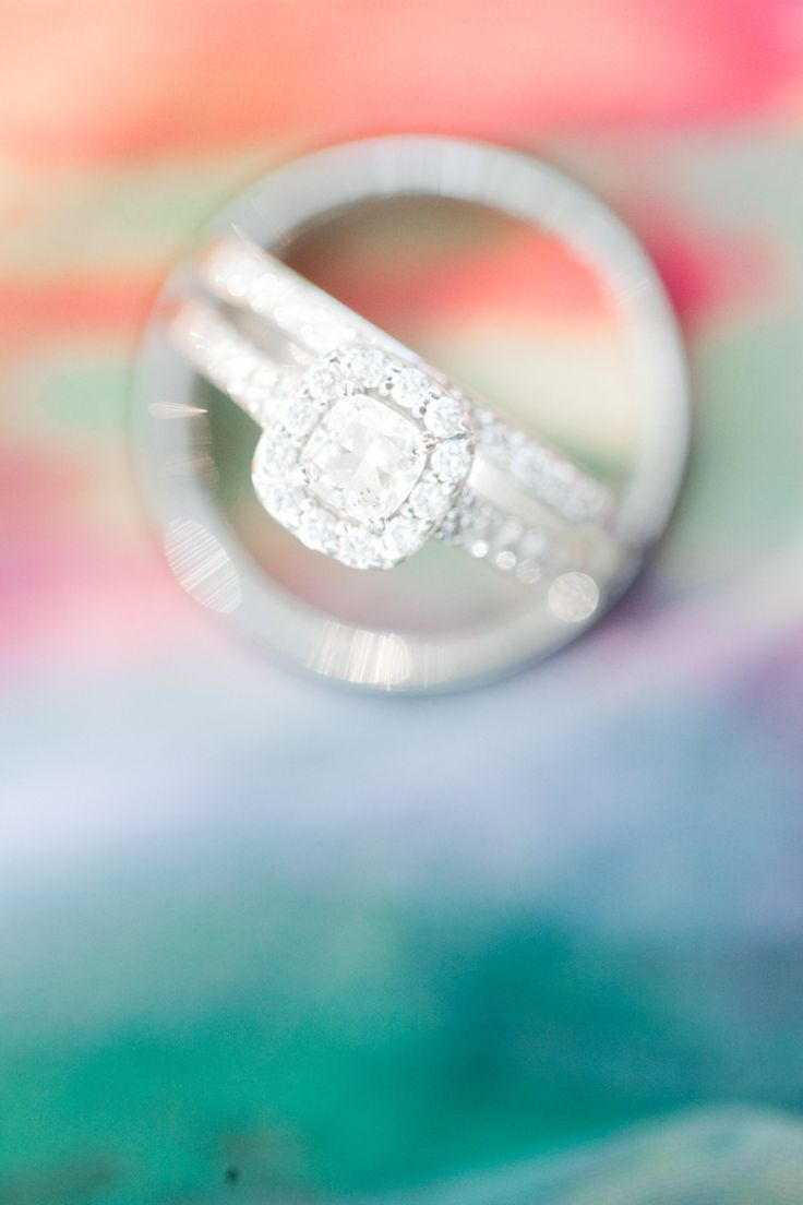#wedding #ring solitaire square cute with a diamond halo Photography: Jordan Bri...