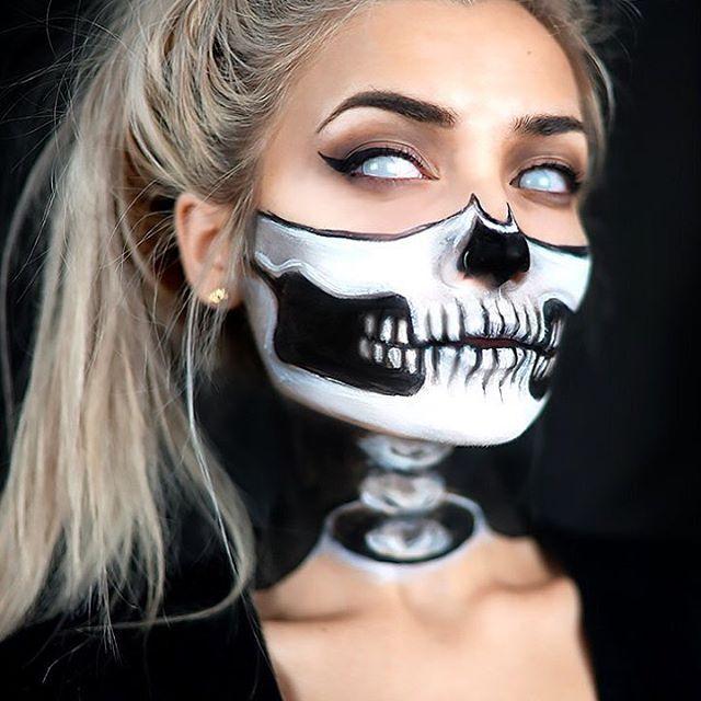 ** 1/2-Skull w/ Exposed Neck Halloween Makeup Tutorial! (by Instagram User: Roxx...