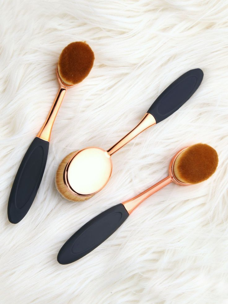 3pcs Makeup Toothbrush Rose Gold Set