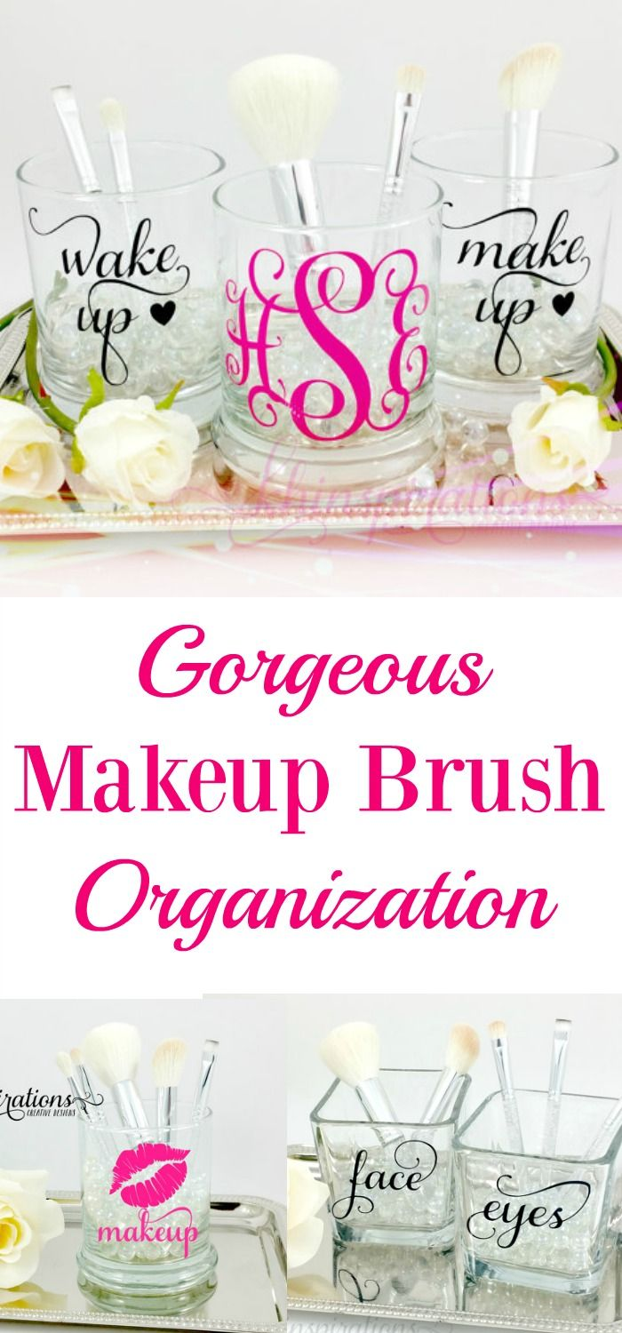 Beautiful way to organize your makeup brushes and other bathroom organization. M...