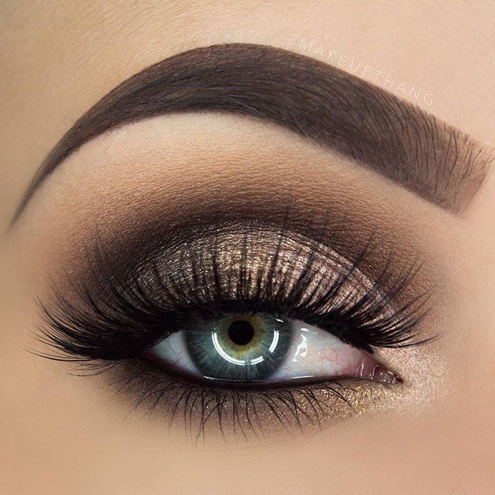 brown and gold smokey eye