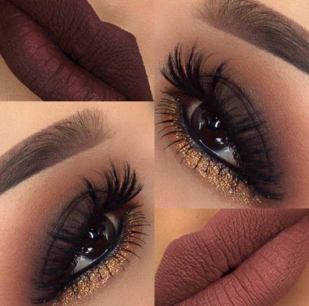 Brown Smokey Eye Gold Glitter Lower Lash Line