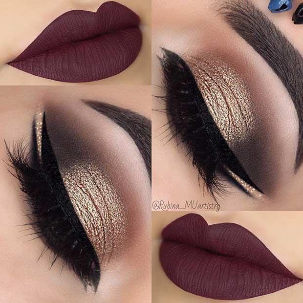 Double Eyeliner + Matte Plum Lips