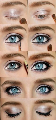 How to Do Sexy Blue Eyes Makeup | Gold Eyeshadow Tips by Makeup Tutorials at www...