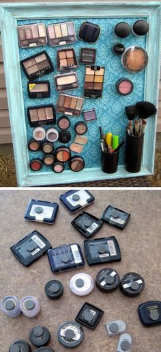 Make-up Magnet Board | Click Pic for 18 DIY Makeup Storage Ideas for Small Bedro...