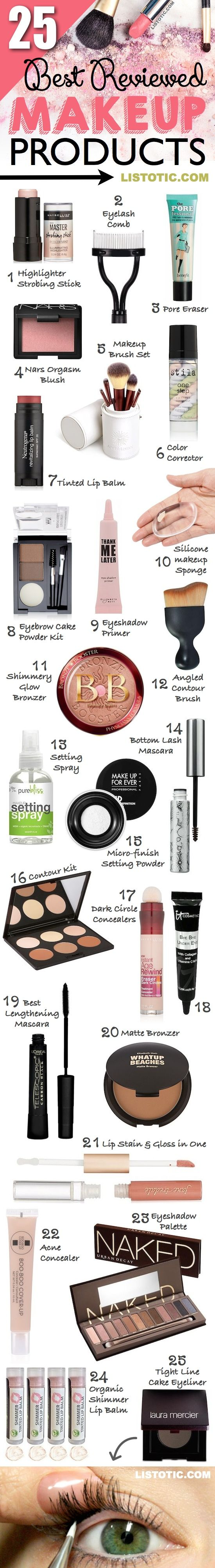 The 25 best reviewed makeup products for beginners and professionals! Most of th...