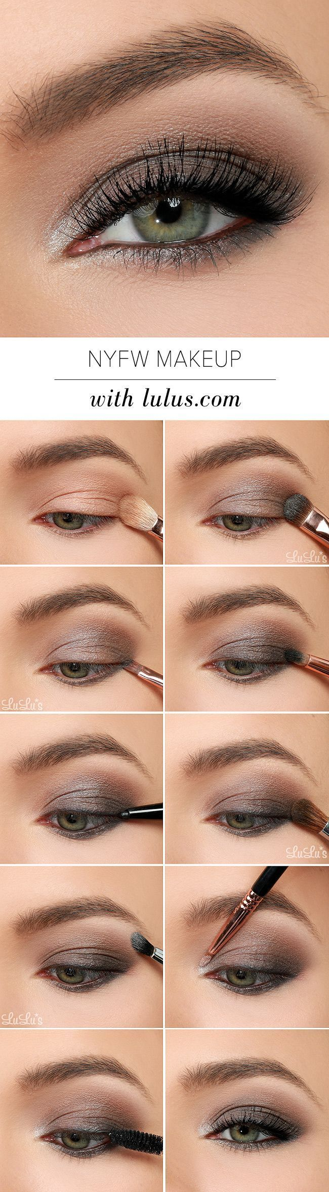 This NYFW-inspired eye makeup tutorial uses gray, black, and metallic silver eye...