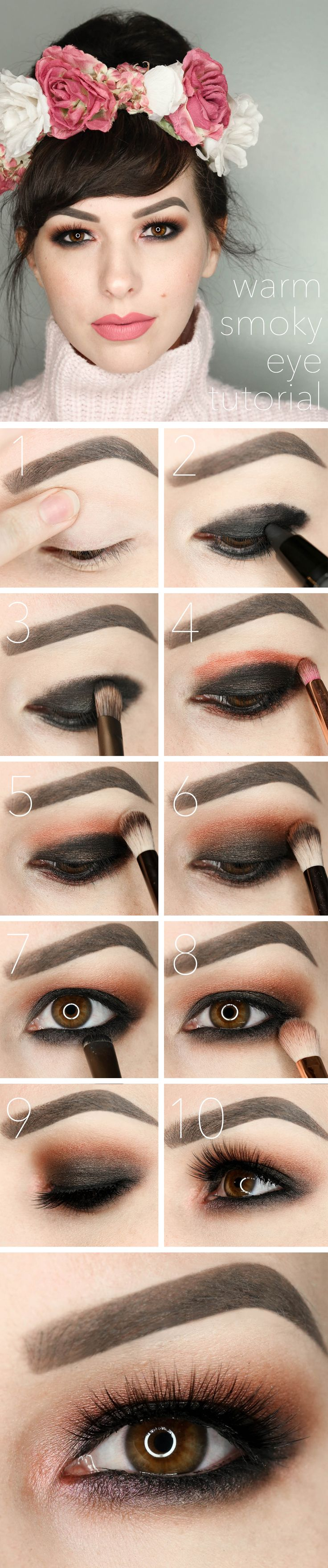 Warm Smoky Eye Tutorial Valentines Day Makeup-Follow this step by step, warm smo...