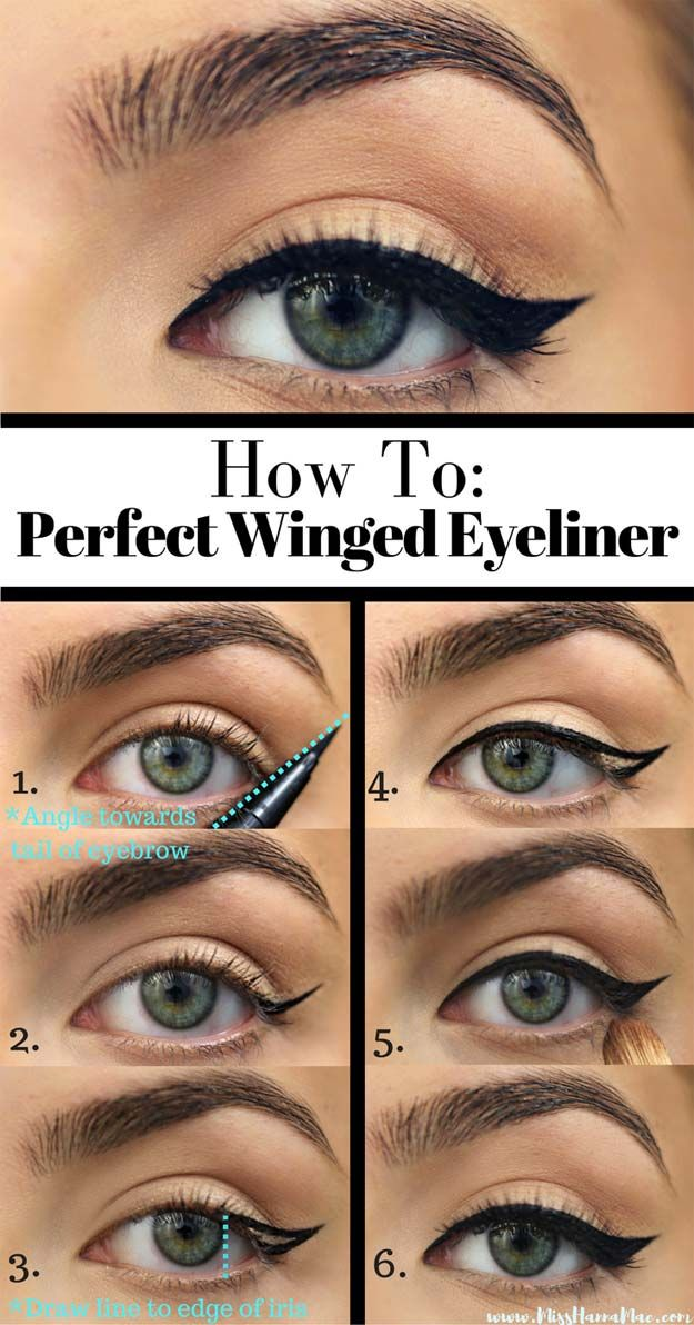 Winged Eyeliner Tutorials - How To Perfect Winged Eyeliner- Easy Step By Step Tu...