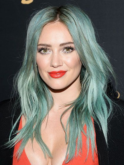 Hilary Duff with bright blue