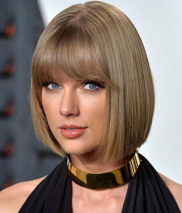 Taylor Swift's bangs and bob are so sleek