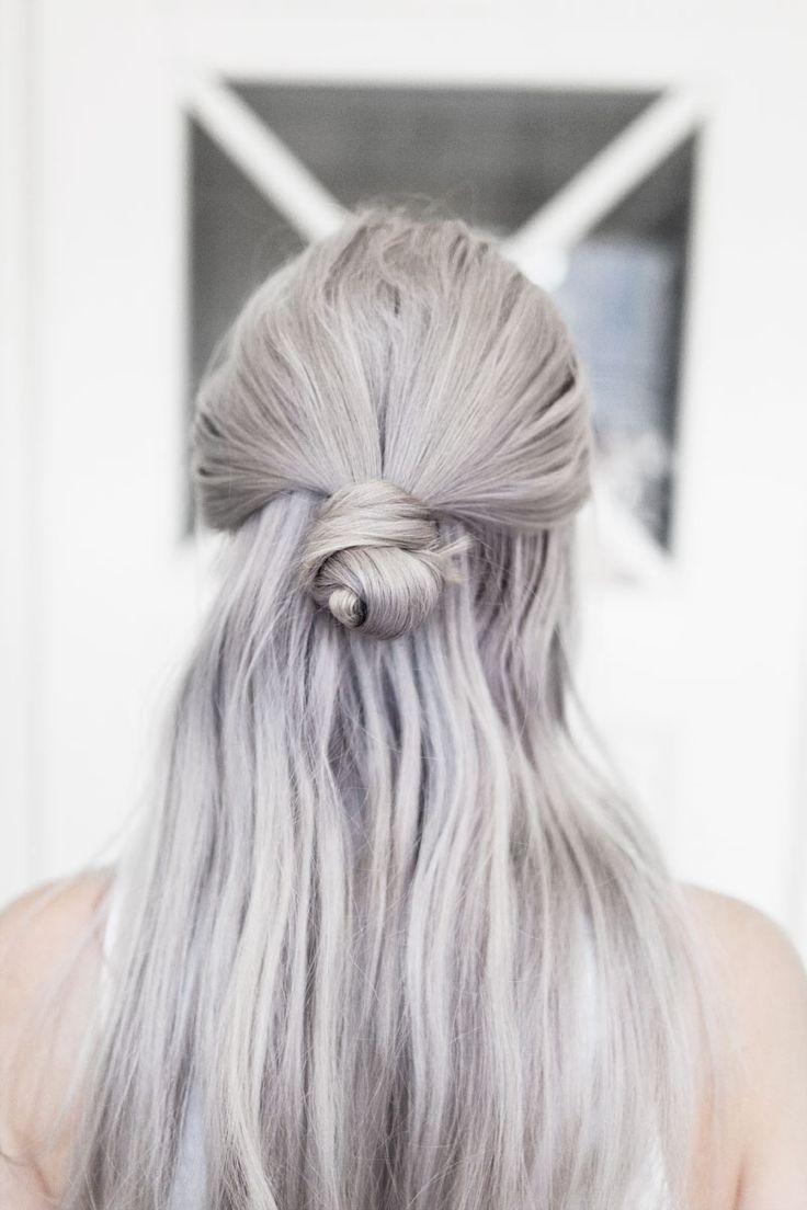 half up bun and pastel hair