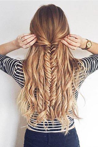 Half updo fishtail braid