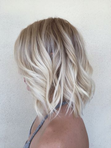 Summer blonde lob with beachy waves