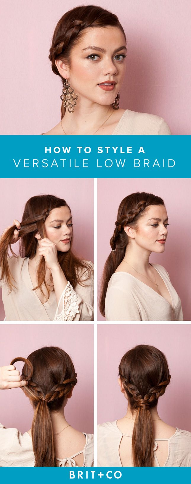 Take your hair to the next level with this simple versatile low braid 'do.