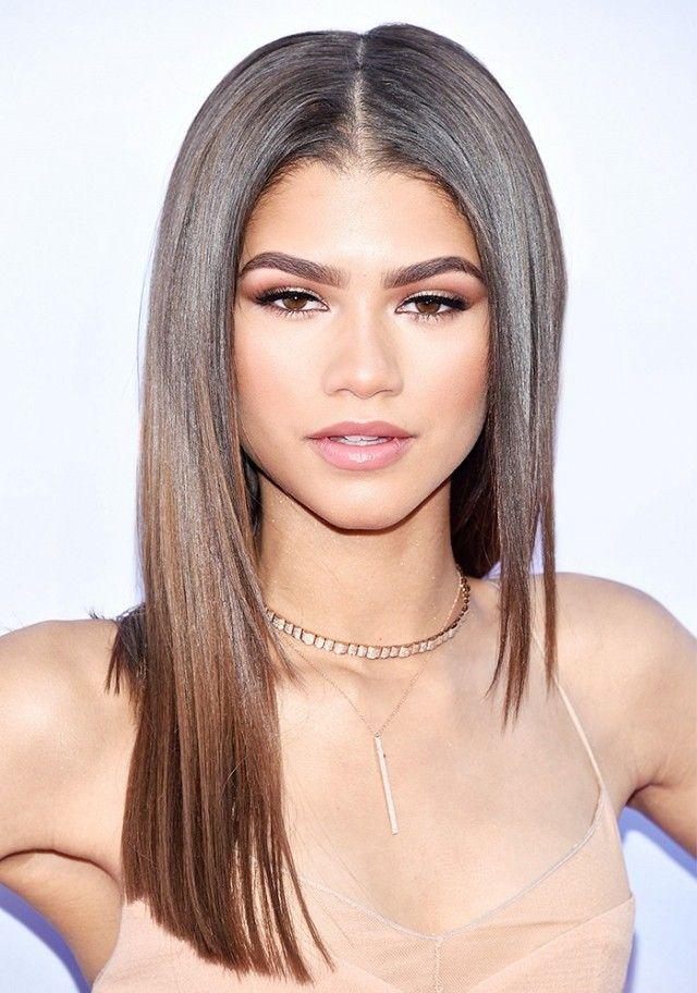 Zendaya's long sleek hair and center part look so good