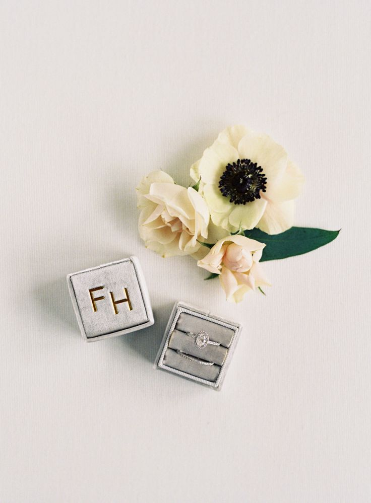 engagement ring and wedding band, grey velvet ring box, gold initials | Photogra...