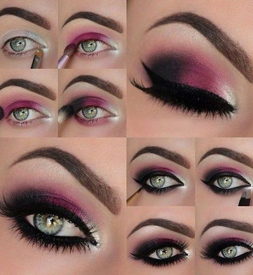 16 Easy Step-by-Step Eyeshadow Tutorials for Beginners: #10. Pink, Silver and Bl...
