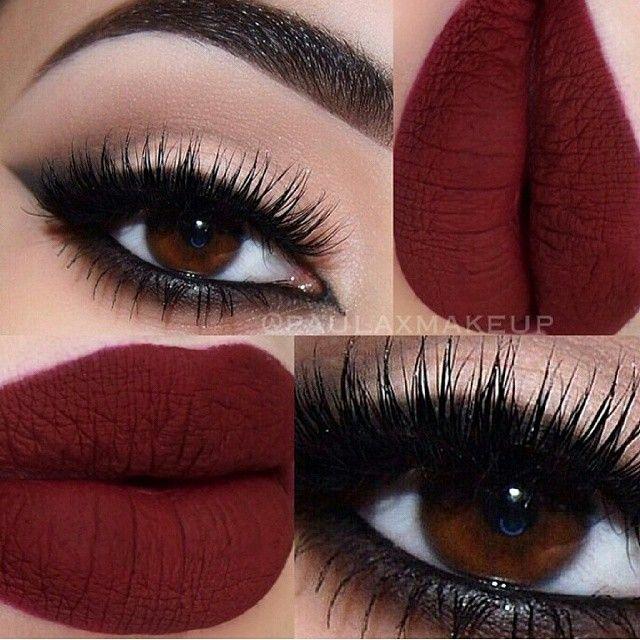 black smokey arabic #cat_eye winged eyeliner, matte red lips | #makeup