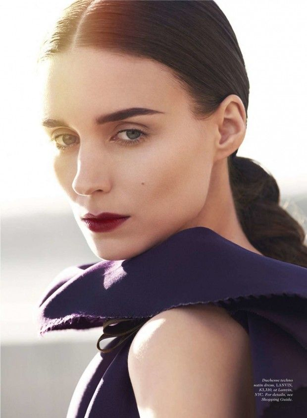 Bold brows and bordeaux lips (Rooney Mara for Elle January 2016 by Cedric Buchet...