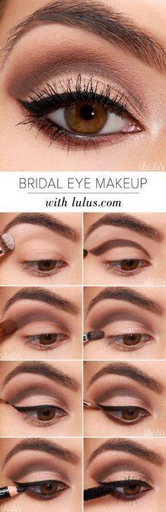 bridal eye makeup / smokey eye / natural colours