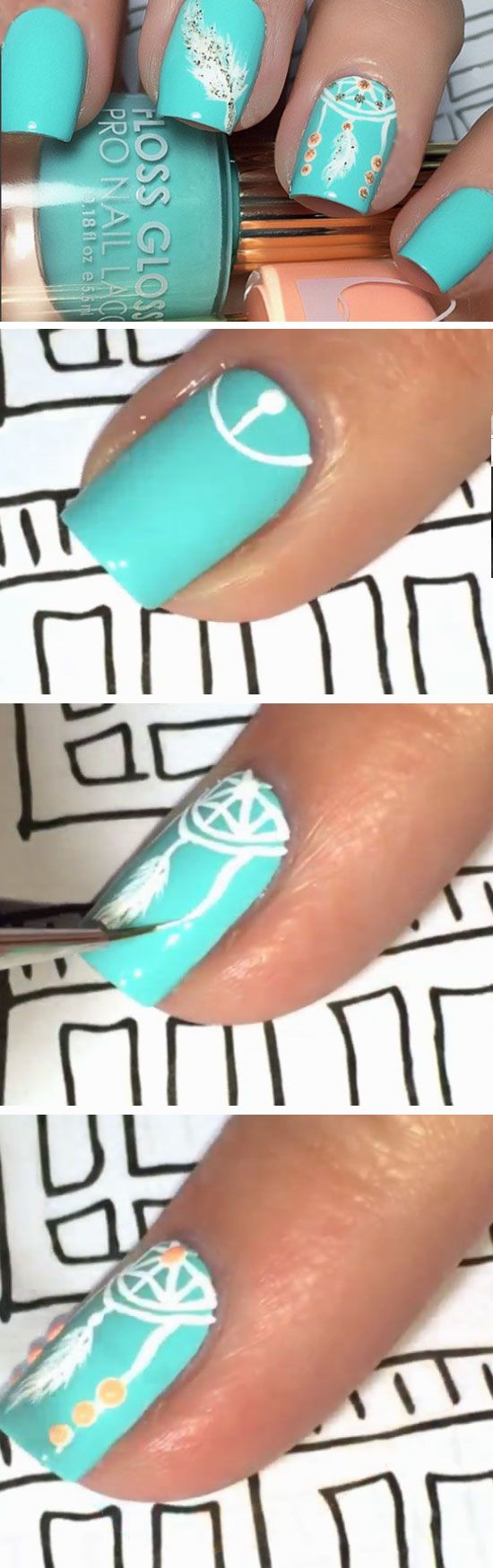 Dream Catcher | Click Pic for 22 Easy Spring Nail Designs for Short Nails 2016 |...