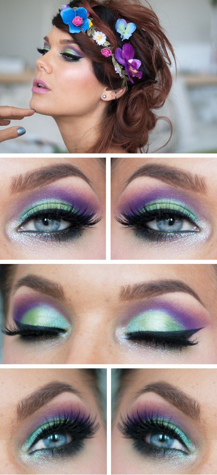 Makeup Ideas 2017 2018 Flowerchild Make Up In Green Purple