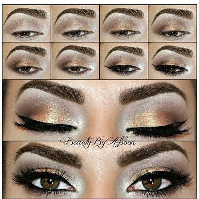 Light bronze and gloden eye makeup tutorial for hazel eyes #evatornadoblog