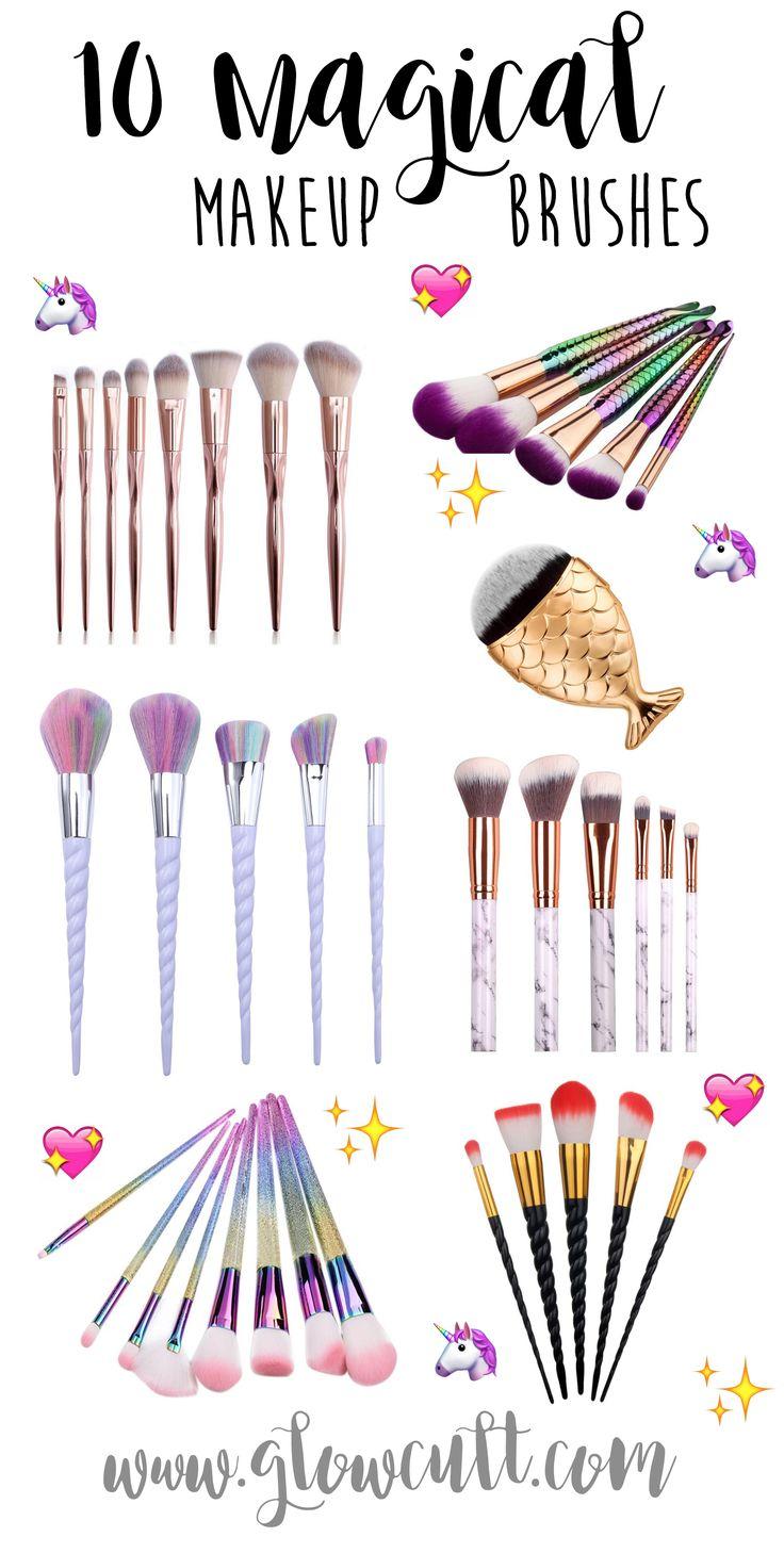 Magical Makeup Brushes, mermaid, unicorn, rainbow, glitter, fish contour brush, ...
