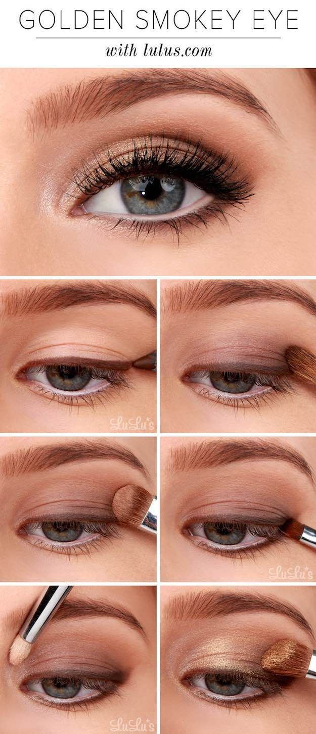 Makeup Tutorials for Blue Eyes -Lulus How-To: Golden Smokey Eyeshadow Tutorial -...