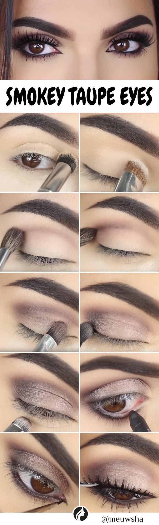 Smokey Taupe Eyes tutorial. Try a smokey eye look if you are searching for somet...