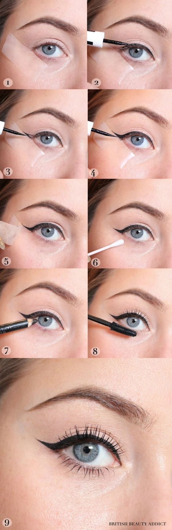 Using tape to create a winged liner is one of the best beauty hacks for the holi...