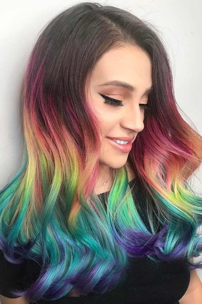 Try rainbow hair that is rich, dark, fantastic and mysterious. The new oil slick...