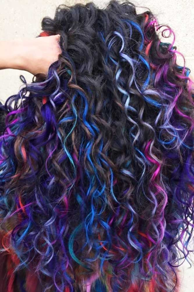 Many Colors For Long Curly Hair #longhair #curlyhair #brunette #highlights ❤...