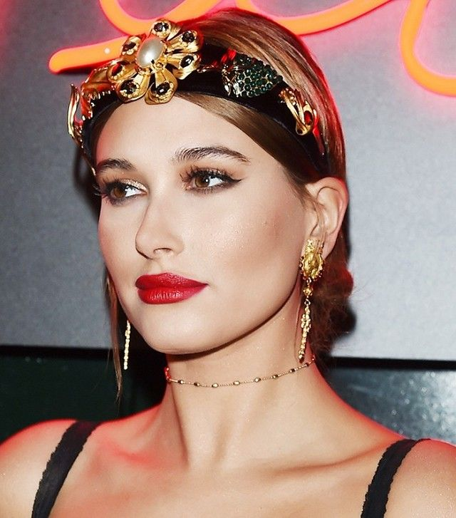 Hailey Baldwin is giving off some sultry beauty vibes with this embellished head...