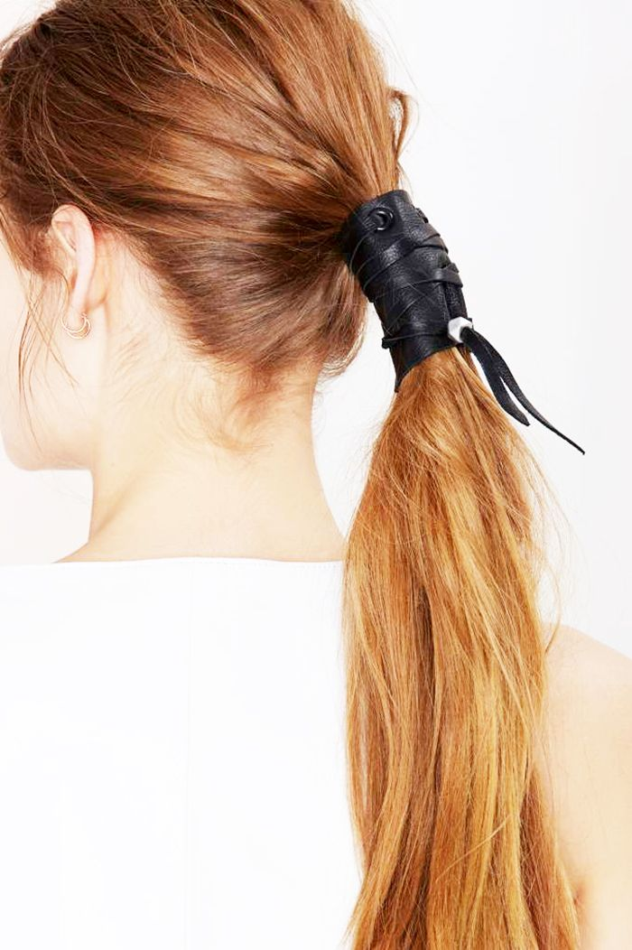 Leather-wrapped ponytail