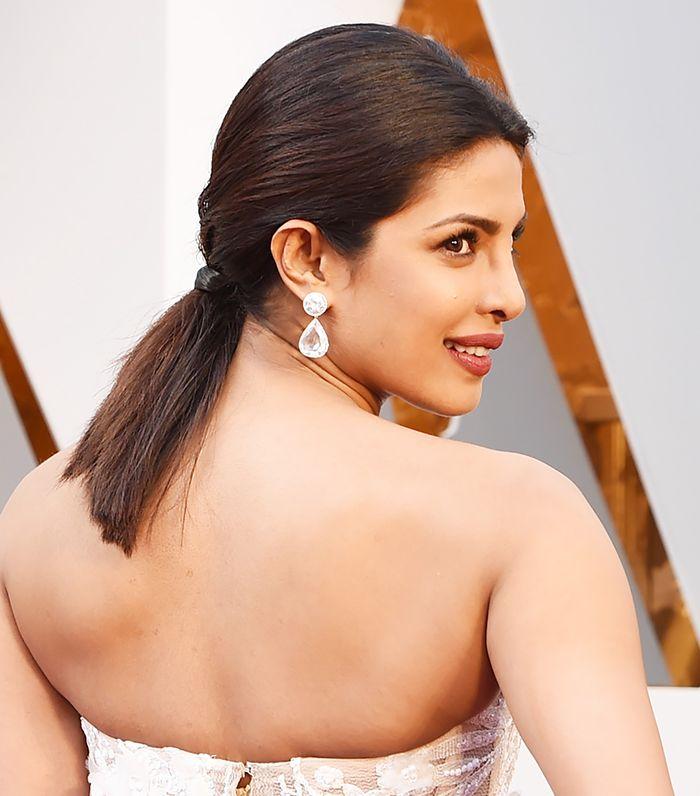 Loving Priyanka Chopra's blunt and polished ponytail