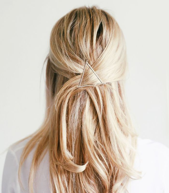 Triangular bobby pin hairstyle