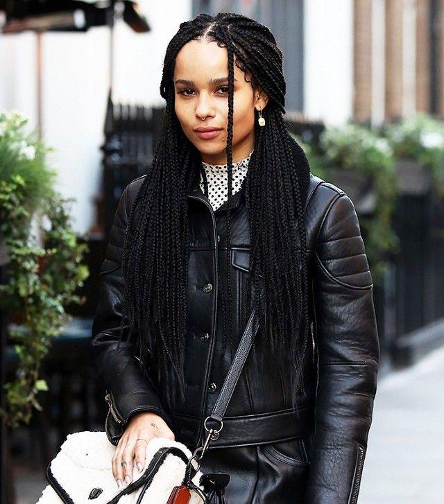 Zoë Kravitz's + box braids + half-up 'do= perfection