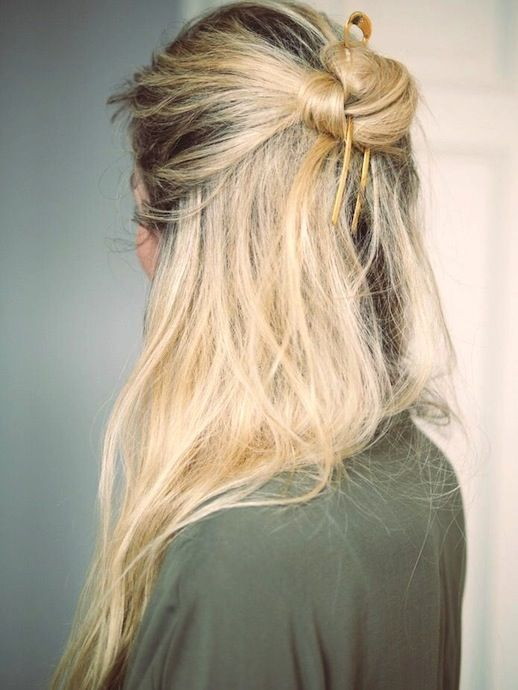 knotted messy half-updo