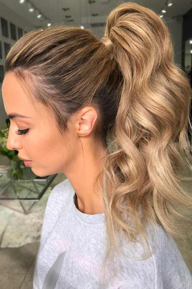 Beautiful Light Caramel Tones High Ponytail #longhair #wavyhair #ponytail ❤️...